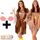 Hippie Ladies + Pink Glasses Fancy Dress 1960s 70s Womens Adults Hippy Costume