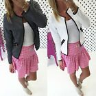 Womens Ladies Slim Biker Casual Jacket Biker Motorcycle Short Coat Jacket B20E