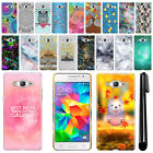 For Samsung Galaxy Grand Prime G530 Art Design Phone Hard Case Back Cover + Pen
