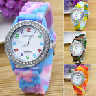 Women's Rhinestone Inlaid Case Rainbow Color Silicon Band Wrist Watch Hot