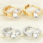 Fashion Womens Gold Silver Plated Jewelry Zircon Crystal Clip-On Hoop Earrings