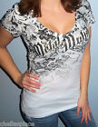 New Sexy METAL MULISHA Maidens Black SUBLIMATED LACE Deep V Top T-Shirt Small S