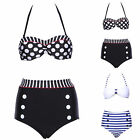 Womens Vintage Retro Padded High Waisted Bikini Set Swimsuit Bathing Suit