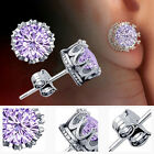 Ladies Charm Silver Plated Rhinestone Crown Shaped Ear Stud Earrings 8 LAD NEW