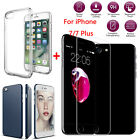 For iPhone 7/7 Plus Soft TPU Case Cover + Full Coverage Tempered Glass Film LOT