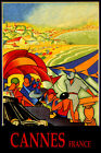CANNES FRANCE FASHION BEACH PARTY SAILING SUMMER TRAVEL VINTAGE POSTER REPRO