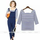 Blue & White Stripe T-Shirt Summer Casual Blouse Cotton U-Neck Womens Tee Tops