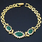 """Fashion green red black oval jade crystal purfle gold plated bracelet 7.5""""B1165"""