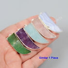 1Pcs 925 Sterling Silver Horn Natural Amethyst Quartz Amazonite Pendant HSS030