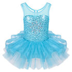 Kids Girls Sequin Halloween Party Costume Skate Ballet Leotard Dance Dress 2-8Y