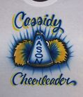 CHEERLEADER AIRBRUSHED MEGAPHONE T SHIRT PERSONALIZED  ADULT & YOUTH SIZES