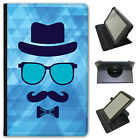 Hipster Face / Hipster Moustache Guy Universal Leather Case For Linx Tablets