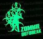 Large Zombie Dead Outbreak Glow in the Dark Luminescent Stickers Decals d1
