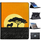 African Savannah Animal Sunsets Folio Cover Leather Case For Apple iPad