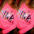 Women Casual Tops T-Shirt Loose Hoodie Pink Stamping Long Sleeve Pullover