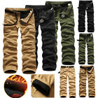 Hot Mens Fleece Lined Cargo Pants Work Trousers Winter Warm Pants Casual pants