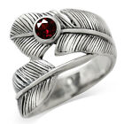 Natural Garnet 925 Sterling Silver Bypass Feather Ring