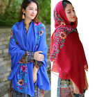 Womens Chinese Folk Embroidered Flower Cotton Linen Large Wrap Shawl Long Scarf