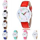 New Fashion Colorful Women Ladies Girl Leather Band Analog Quartz Wrist Watch