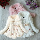 Baby Girls Fur Fleece Coat Winter Warm Coat Jacket Thick Snowsuit Outerwear 1-5Y