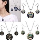 Fashion Gem Time Eagle Skull Glass Necklace Earrings Stud Cabochon Jewelry Sets