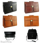 Giglio Classic Style Leather 3 Compartment Key Lock Briefcase Made In Italy