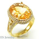 DELUXE! 16x12mm Natural 8.43ct Citrine Gemstone Yellow Orange Gold Cocktail Ring