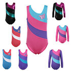 Girls Shiny Foil Stripe School Uniform Training Dancing Gymnastics Leotard 2-12Y
