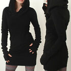 Women Black Pullover Jumper Hoodie Shirt Long Sleeve Coat Sweatshirt Tops Dress
