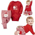"""MY First Christmas"" Newborn Baby Girls Romper Bodysuit Outfits Christmas New"