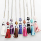Mixed Color Leather Velvet Terylene Tassel Necklace 17.5 inch x8134