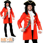 Red Pirate Captain Hook Mens Fancy Dress Book Day Adults Pirates Costume Outfit