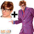 Secret Agent + Wig & Glasses Mens Austin Powers Fancy Dress 1960s Adults Costume