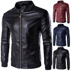 Stylilsh Mens Casual Slim Collared Biker Motorcycle Leather Full Zip Jacket Coat