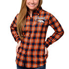 Women's Denver Broncos Orange Wordmark Flannel Button-Up Long Sleeve Shirt NEW on eBay