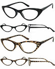 Retro Womens Cat Eye Full Lens Reading Glasses Spring Hinges Black or Leopard