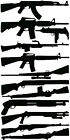"12 ASSORTED GUNS  6"" IMAGES    Vinyl / Decal   U Pick Color (23 Different)"