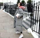 Womens Fur Collar Long Loose Fit Parkas Puffed Thicken Overcoats Single Breasted