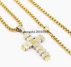 "Men's 18""- 32"" Stainless Steel Gold Box Chain Necklace Cross Pendant"