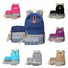 3x Women Canvas Vintage Backpack Rucksack College Shoulder School Bag Satchel