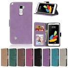 Frosted Retro Leather Flip Wallet Cards Holder Soft TPU Cover Case For LG
