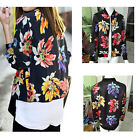 1X Polyester Women's  Style Coat Printing Floral with Zipper Long Sleeve Jacket