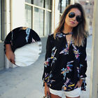 Colorful 1pcs Lady Women's Floral Printing Loose Long Sleeve Shirt Blouse Tops
