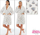 New Ladies Heart Fluffy Dressing Gown Robe White Grey Pink Size 8-10 12-14 16-18