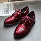 Womens Retro British Style Lace Up Brogue Carved Collegiate Shoes Oxford Shoes