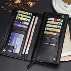 Mens Leather Wrist Clutch Handbag Zip Long Wallet Purse Billfold Card Bag Holder