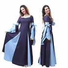 Women Medieval Renaissance Blue Wedding Dress Gothic Long Costume Cosplay Gown