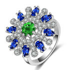 925 Silver 9CT Round Heart Green Sapphire Topaz White Gold GF Women Ring Jewelry