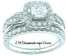 925 Sterling Silver CZ Wedding Set 1.5 ct Princess Halo Bridal Engagement Rings