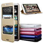 Dual Window View Flip Leather Protector Case Cover Stand For HTC Desire 816/A9
